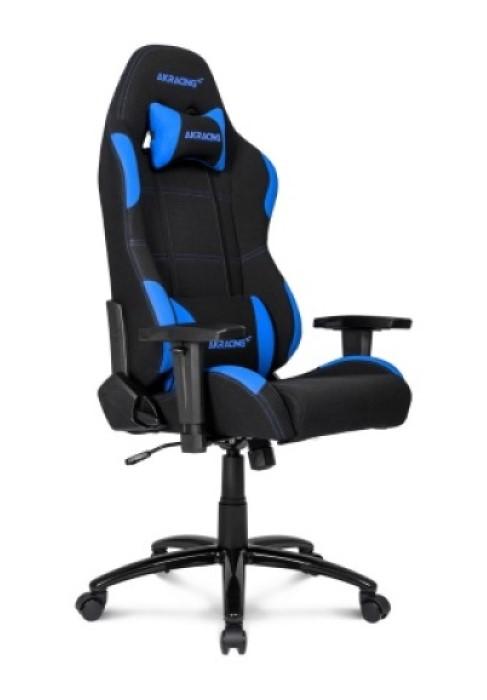 En svart och blå stol AKRacing Core Series EX Gaming stol för bekväm spelande