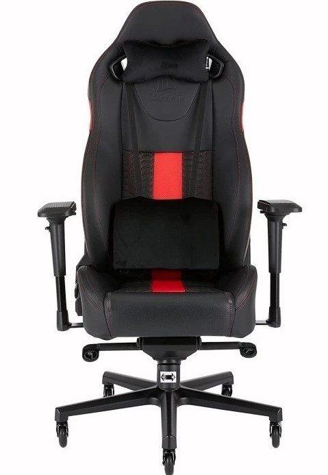 Svart och rött Corsair T2 Road Warrior gaming stol för onlinespel