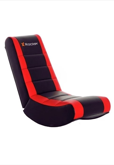 En svart rocker spelstol med röda ränder