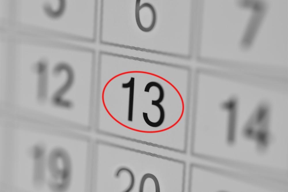 13 månadens nummer finns i kalendern