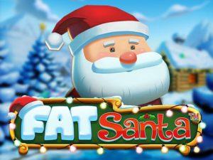 Söt Santa är ovanför logotypen för Fat Santa online slot