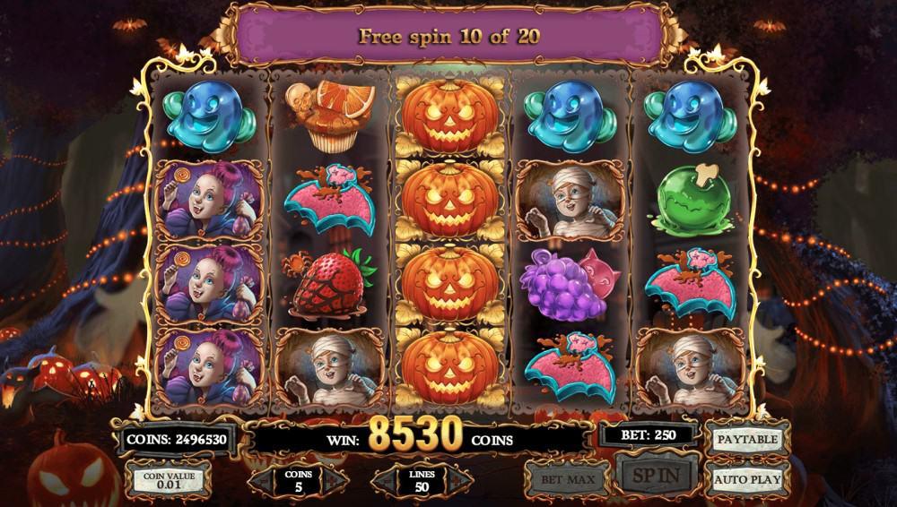 En vinnande kombination i Happy Halloween riktiga pengar slot