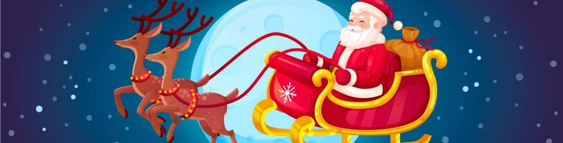 Santa flyger i himlen med två renar