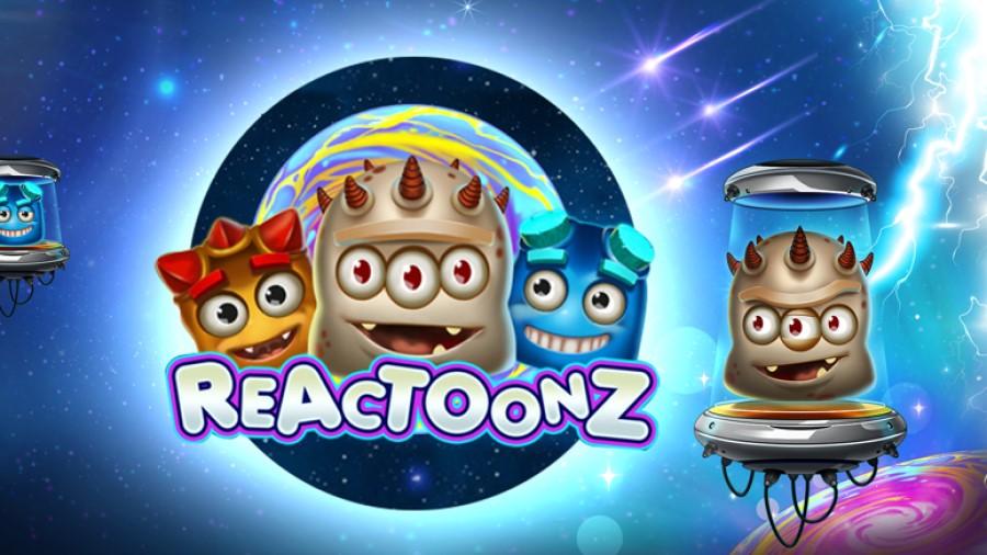 Logotypen för Reactoonz online slot med stora bonusar
