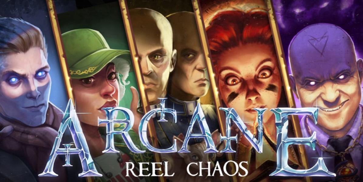 Huvudpersonerna och en logotyp av Arcane: Reel Chaos online slot från NetEnt