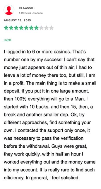 Positiv recension av Calzone Casino från Kanadensisk spelare