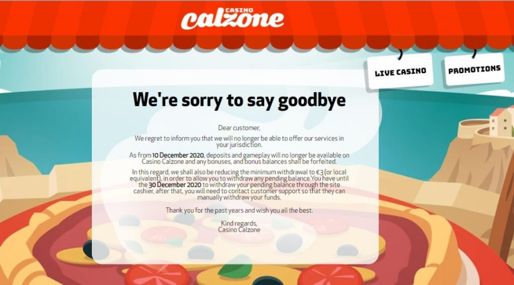 Meddelandet om Calzone Casino stängning på deras officiella hemsida