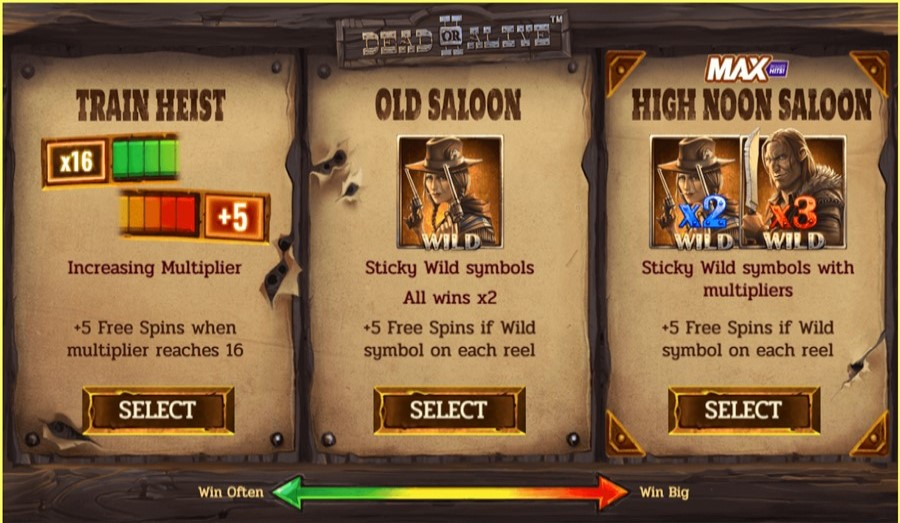 Tre funktioner för att få free spins I Dead or Alive 2 online slot från NetEnt