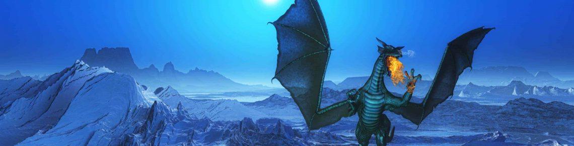 En jätte och blå fantasi drake andas eld