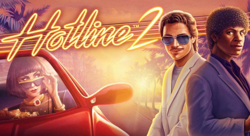 Huvudpersonerna och logotypen för Hotline 2 online slot från NetEnt