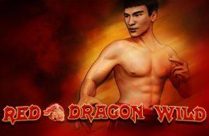 En topless man på logotypen för Red Dragon Wild Slot spel