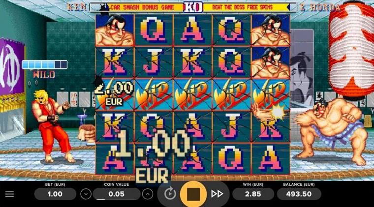 Ett spel med wild-funktioner i Street Fighter 2: World Warrior online slot från NetEnt